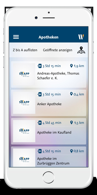 Startscreen der App